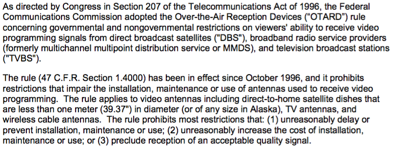 FCC Ruling Regarding Digital Antennas